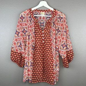 Anthropologie Fig and Flower Boho Abstract Tunic